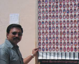 Poster of Children killed by Tsunami with Indian journalist.