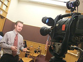 Will Jenkins is interviewed for TV in Clarksburg, West Virginia, during 'ACTION' tour.