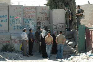 A checkpoint in the Israeli Barrier in the West Bank, near Abu Dis.