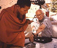 David Channer with a Buddhist monk