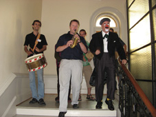 Uwe Steinmetz and Augusto Cabrera lead out the conga, Caux 2006