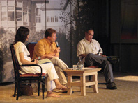 Pauline Warjri, Uwe Steinmetz and Yousef Khanfar in conversation in Caux