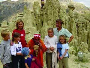Laurent and Hélène de Cherisey and family in the Andes.