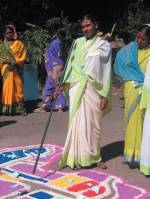 A sweeper explains what she has learnt at an Asia Plateau training programme.